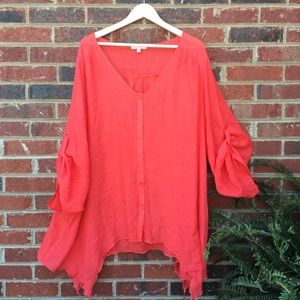 Fresh Summer Coral Flowy Button Up Top